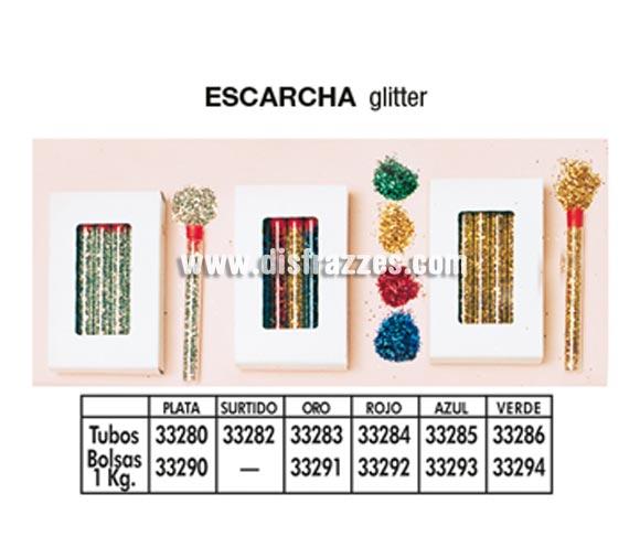 Tubos escarcha de varios colores. Colores rojo, oro, azul y verde. Precio por tubo suelto, se venden por separado.