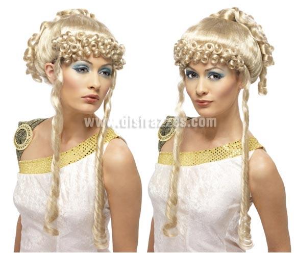 Peluca Diosa Griega rubia con rizos y tirabuzones. Perfecta también para los disfraces de Romana.