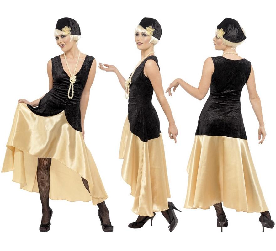 Disfraz de Charlestón de los Años 20 para chicas talla M. Incluye vestido, sombrero y collar de perlas.