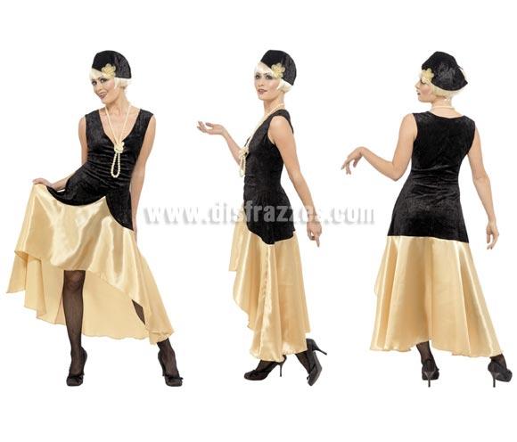 Disfraz de Charlestón de los Años 20 para chicas talla L. Incluye vestido, sombrero y collar de perlas.