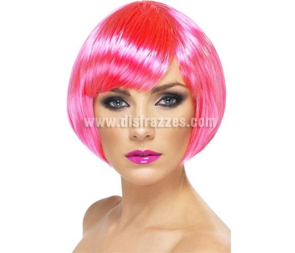 Peluca Corta estilo Bob color Rosa Neón o Fluorescente