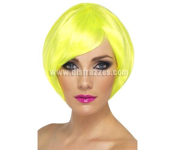 Peluca Corta estilo Bob color Amarillo Neón o Fluorescente
