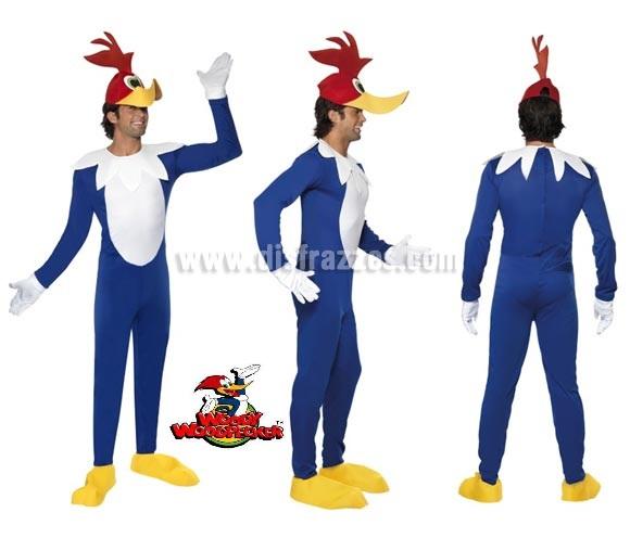 Disfraz de Woody el Pájaro Loco para hombre talla M. Incluye mono, gorro, guantes y cubrepies.