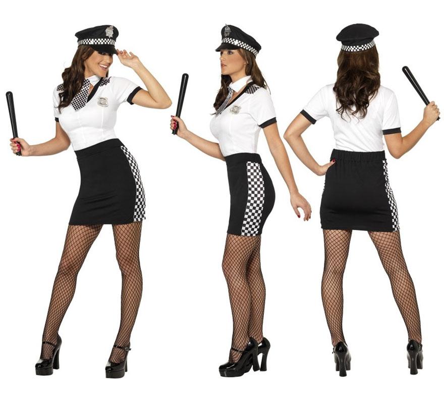 Disfraz de Policía Sexy para Mujer talla S 36/38. Disfraz de Alta Calidad. Se compone de Camiseta, Falda, Corbata y Gorra. Completa tu disfraz con artículos de nuestra sección de accesorios como armas, esposas, porra, peluca, gafas, medias...