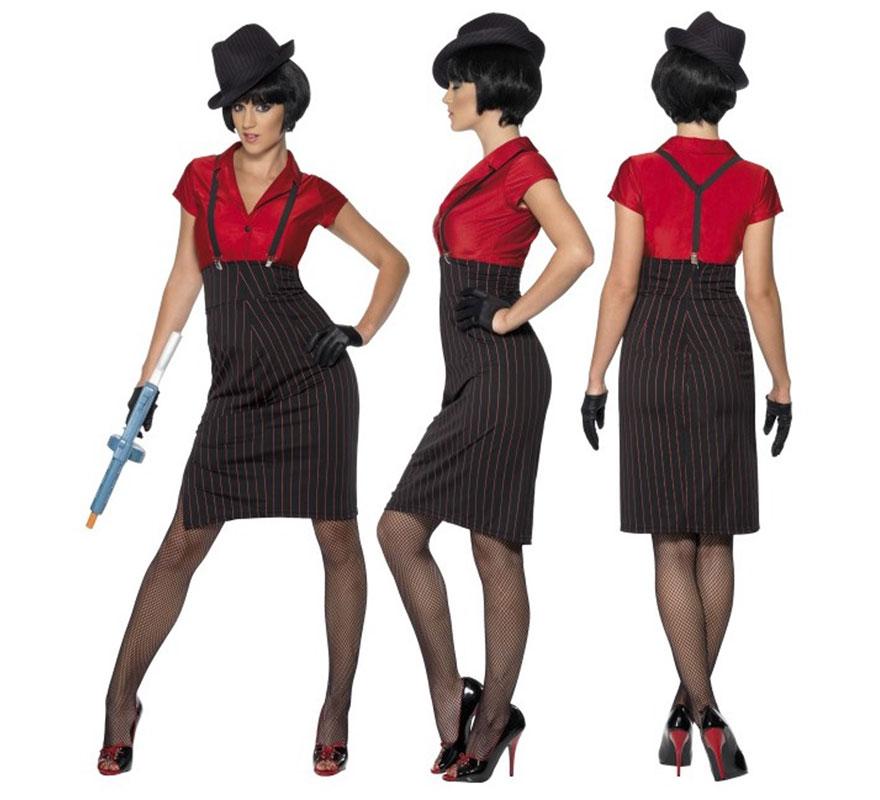 Disfraz de Chica Gánster Rojo y Negro para Mujer talla M 40/42. Disfraz de chica Gangster o Mafiosa años 20 Ley Seca de Alta Calidad y Elegante. Incluye Camisa, Falda, Tirantes y Guantes, no incluye sombrero, peluca, medias ni calzado. Completa tu disfraz con nuestros artículos de la sección de complementos.