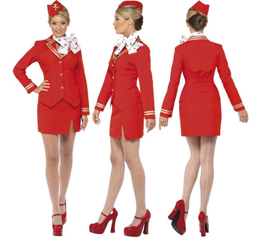 Disfraz de Azafata rojo sexy para mujer talla L. Incluye chaqueta, falda, bufanda y sombrero. Medias y zapatos NO incluidos, las medias podrás verlas en la sección de Complementos - Guantes y medias.