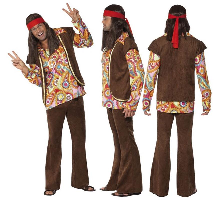 Disfraz de Hippy color Marrón para Hombre talla M 42/44. Disfraz de Alta Calidad de Hippie, con Pantalones acampanados y Camisa multicolor. Se compone de Camisa, Chaleco y Pantalón. Puedes encontrar TODOS los complementos para el disfraz en nuestra sección de accesorios.