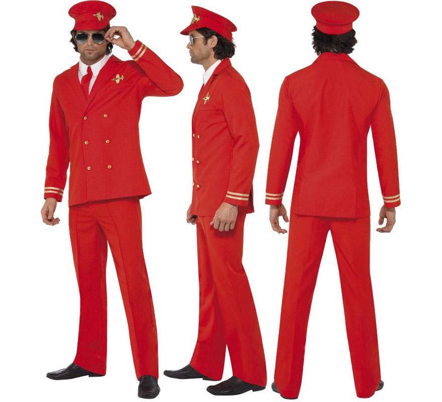 Disfraz de Piloto de Avión rojo para hombre talla M. Incluye chaqueta, pantalón, gorra y camisa.
