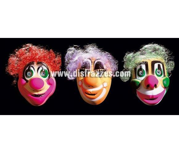 Caretas Clown con pelo infantiles. Precio por unidad, se venden por separado. Cuando hagas el pedido no olvides poner en Observaciones el modelo que quieres, de lo contrario interpretaremos que te da lo mismo y te mandaremos una al azar.