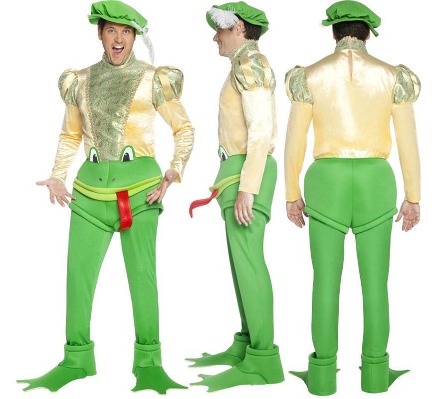 Disfraz de Príncipe convertido en Sapo para hombre talla M. Incluye disfraz completo. Pídele un beso a todas las Princesas que veas para que te conviertan en un Príncipe y deshagan el hechizo, jejeje.