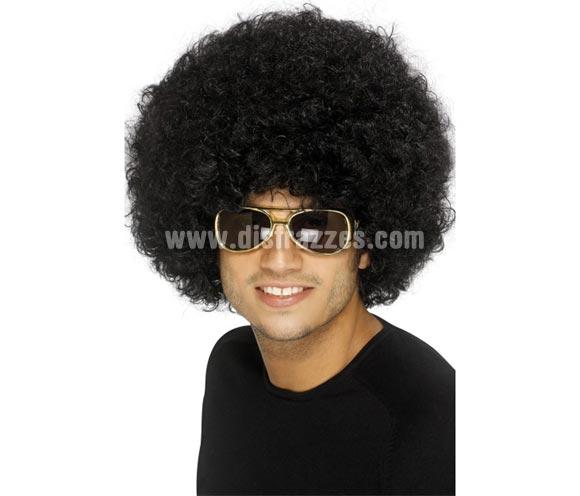 Peluca Años 70 o Funky Afro negra de 120 gr. Ideal para el disfraz de Hippie o de Chico - Chica de la Disco.