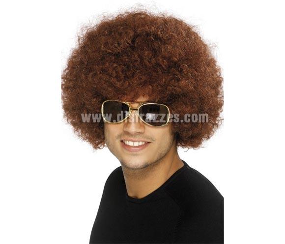 Peluca Años 70 o Funky Afro marrón de 120 gr. Ideal para el disfraz de Hippie o de Chico - Chica de la Disco.