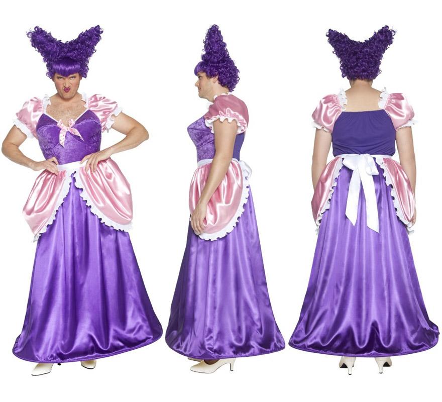 Disfraz de Hermanastra de Cenicienta púrpura para hombre talla M. Incluye disfraz SIN peluca, podrás verla en la sección de Compelemtos. Ideal para Despedidas de Soltero.