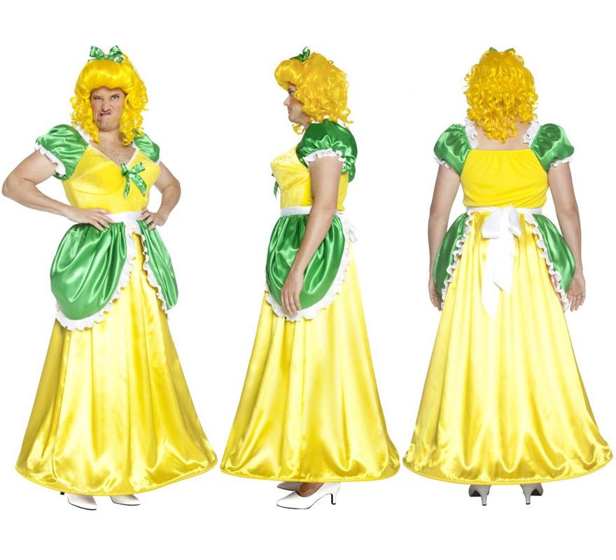 Disfraz de Hermanastra de Cenicienta amarillo para hombre talla M. Incluye disfraz SIN peluca, podrás verla en la sección de Complementos. Ideal para Despedidas de Soltero.