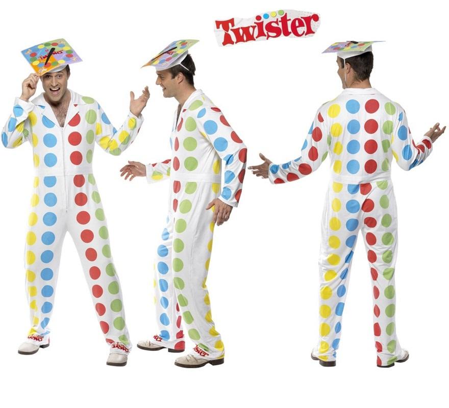 Disfraz de Twister para hombre talla M. Incluye mono y sombrero. Exclusivo y original disfraz del famoso juego de mesa. Tendrás que ir con mucho cuidado para que no te pongan la mano encima, jejeje.