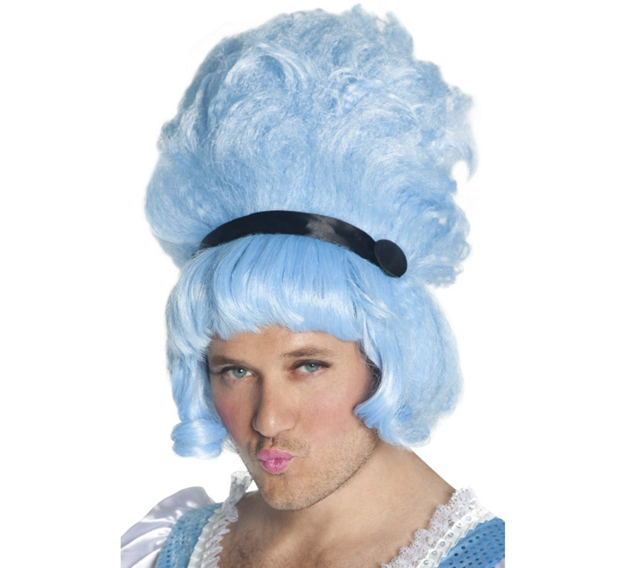 Peluca de Época azul con cinta negra.