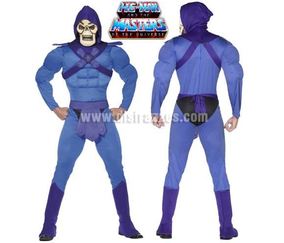 Disfraz de Skeletor musculoso para hombre talla M. Incluye disfraz completo. Éste disfraz és el de la serie de He-Man and the Masters of the Universe.