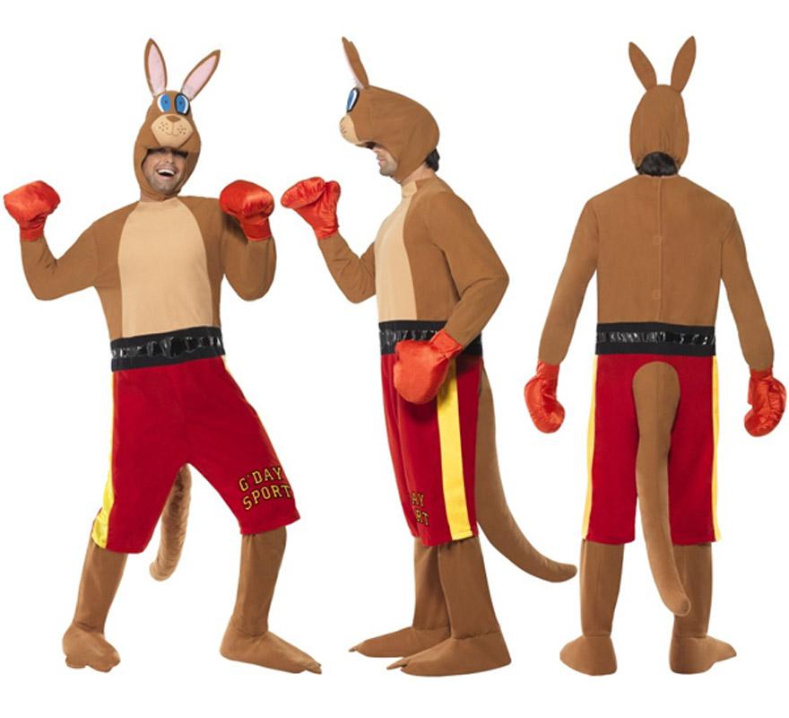 Disfraz de Canguro Boxeador para hombre talla M. Incluye disfraz con pantalones cortos y cola, guantes y cabeza.