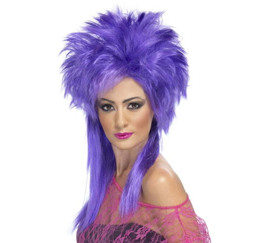 Peluca de Punky púrpura de los años 80.