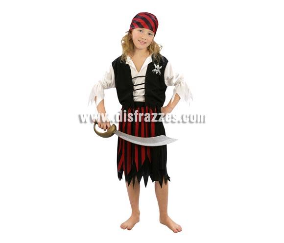 Disfraz de Pirata rojo y negro niña. Talla de 5 a 6 años. Incluye pañuelo, camisa con chaleco y falda. Espada NO incluida, podrás verla en la sección de Complementos.