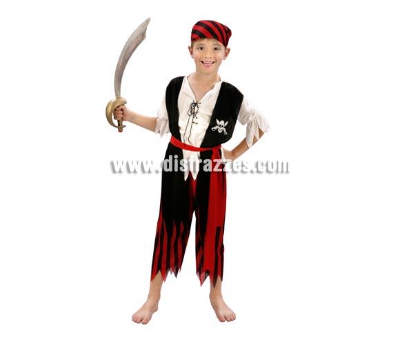 Disfraz de Pirata rojo y negro para niño. Talla de 7 a 9 años. Incluye pañuelo, camisa con chaleco, cinturón y pantalón. Espada NO incluida, podrás verla en la sección de Complementos.
