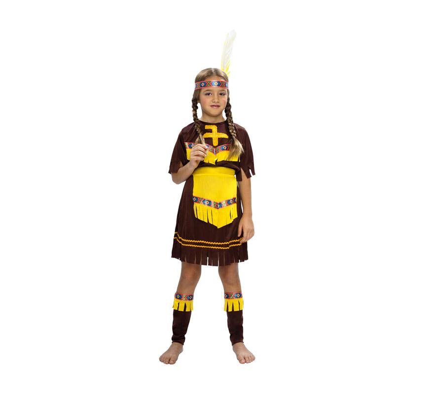 Disfraz super barato de India Marrón para niña. Talla de 7 a 9 años. Incluye tocado, vestido con cinturón y cubrebotas.
