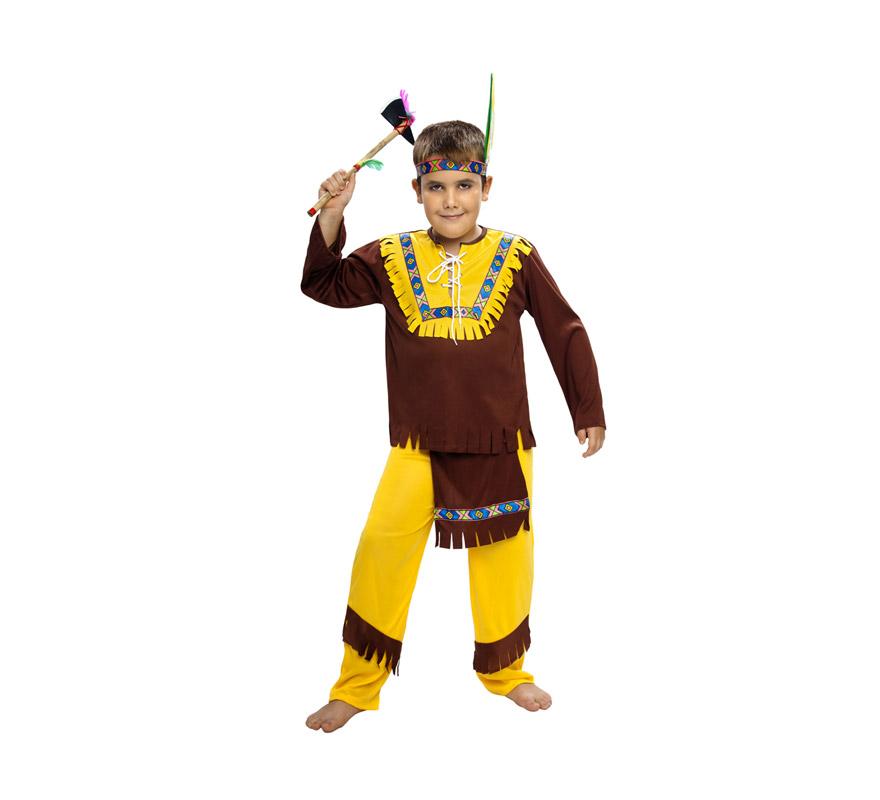 Disfraz de Indio Marrón Económico talla de 7 a 9 años. Incluye tocado, camisa y pantalón. Hacha NO incluida, podrás verla en la sección de Complementos.