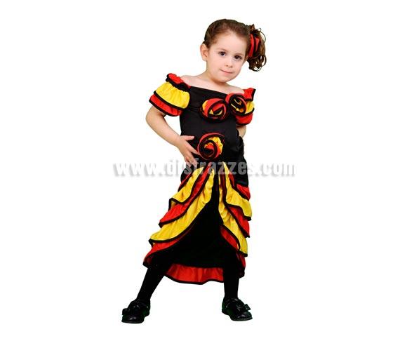 Disfraz de Bailarina de Rumba barato para Carnaval. Talla de 3 a 4 años. Incluye vestido y flor para el pelo. Disfraz de Flamenca o Rumbera para niñas.