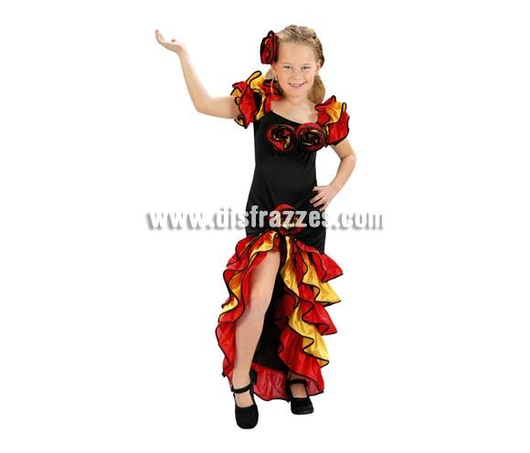 Disfraz de Bailarina de Rumba barato para Carnaval. Talla de 5 a 6 años. Incluye vestido y flor para el pelo. Disfraz de Flamenca o Rumbera para niñas.