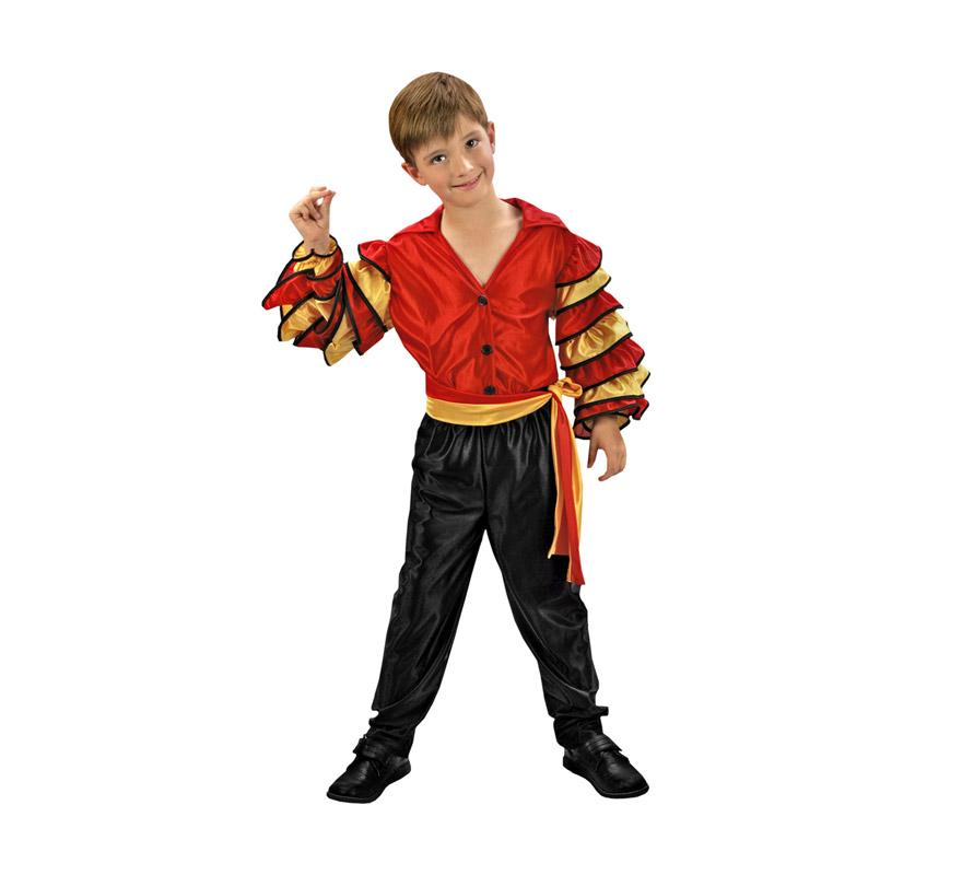 Disfraz de Bailarín de Rumba barato para Carnaval. Talla de 5 a 6 años. Incluye camisa, pantalón y cinturón. Disfraz de Caribeño o Rumbero para niño.