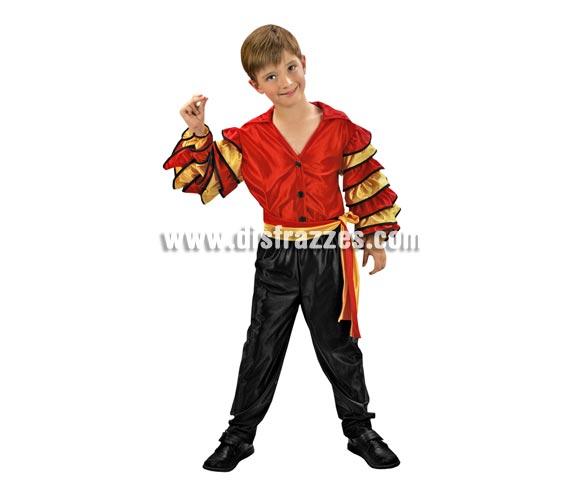 Disfraz de Bailarín de Rumba barato para Carnaval. Talla de 7 a 9 años. Incluye camisa, pantalón y cinturón. Disfraz de Caribeño y Andaluz o Sevillano.