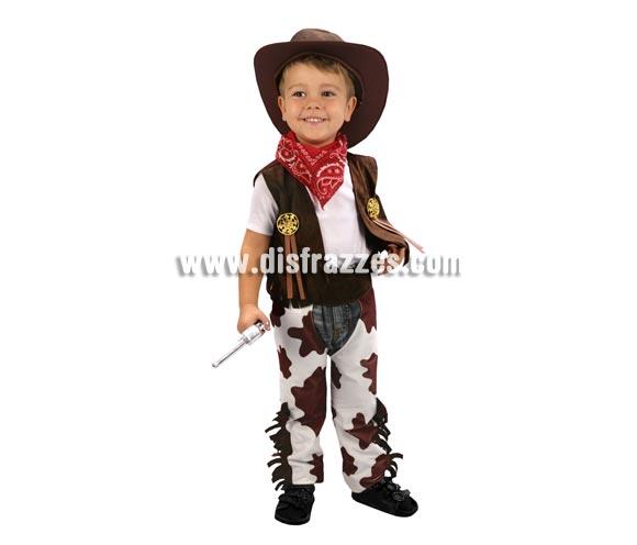 Disfraz barato de Vaquero marrón y blanco infantil para Carnavales. Talla de 3 a 4 años. Incluye chaleco, zahones, pañuelo y sombrero. Arma NO incluida, podrás verla en la sección de Complementos.