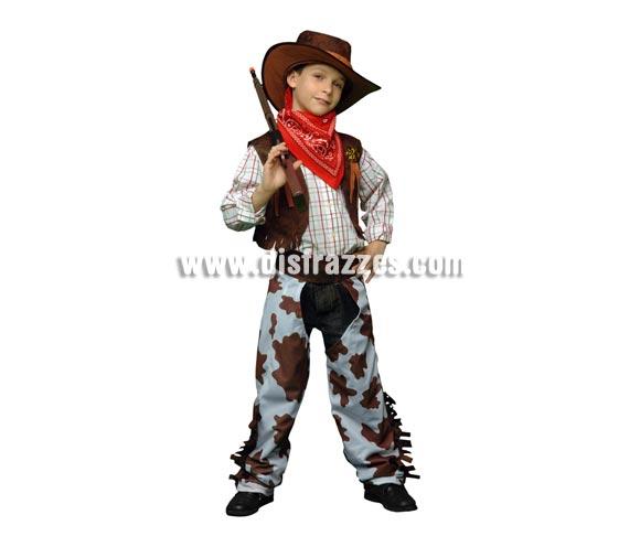 Disfraz barato de Vaquero marrón y blanco infantil para Carnavales. Talla de 5 a 6 años. Incluye chaleco, zahones, pañuelo y sombrero. Arma NO incluida, podrás verla en la sección de Complementos.