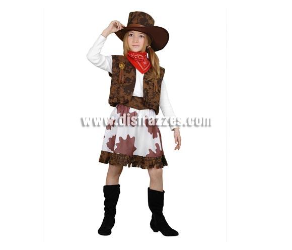 Disfraz de Vaquera marrón y blanco barato para Carnaval. Talla de 3 a 4 años. Incluye chaleco, falda, pañuelo, cinturón y sombrero.