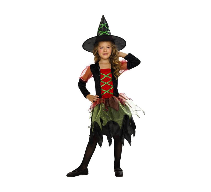 Disfraz de Brujita Colores económico talla de 5 a 6 años. Incluye sombrero y vestido. Escoba NO incluida, podrás verla en la sección de Complementos. Disfraz de Bruja para niña.