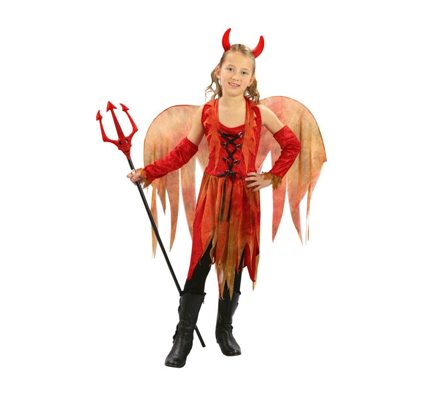 Disfraz de Hada Maligna económico talla de 7 a 9 años. Incluye cuernos, vestido, alas y manguitos. Tridente NO incluido, podrás verlo en la sección de Complementos