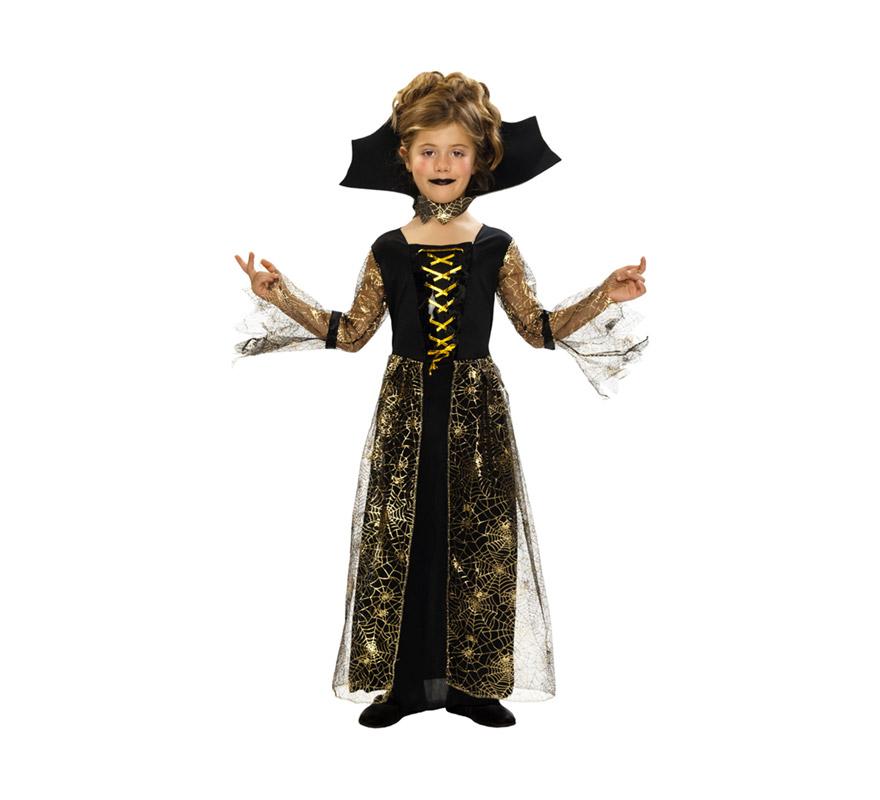 Disfraz de Dama Arácnida con telarañas barato para Halloween. Talla de 7 a 9 años. Incluye vestido y cuello.