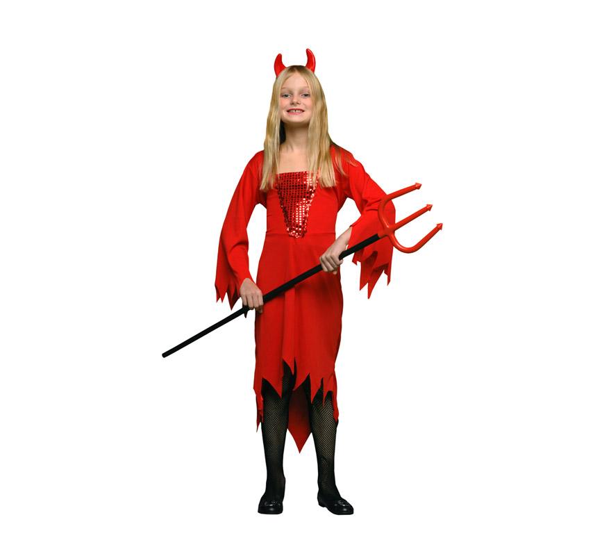 Disfraz de Demonia o Diablesa rojo barato para Halloween. Talla de 7 a 9 años. Incluye vestido y cuernos. Tridente NO incluido, podrás verlo en la sección Complementos.