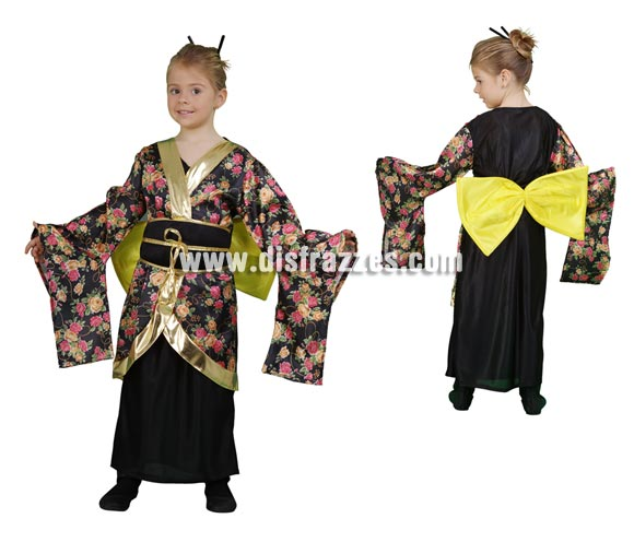 Disfraz de Geisha Estampada barato para Carnaval. Talla de 10 a 12 años. Incluye vestido, cinturón y lazo.