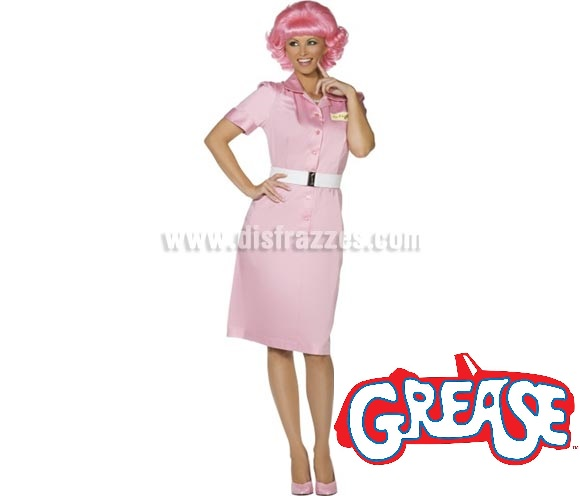 Disfraz de Frenchy de Grease para mujer talla M. Incluye vestido rosa y cinturón. Peluca NO incluida, podrás verla en la sección de Complementos.
