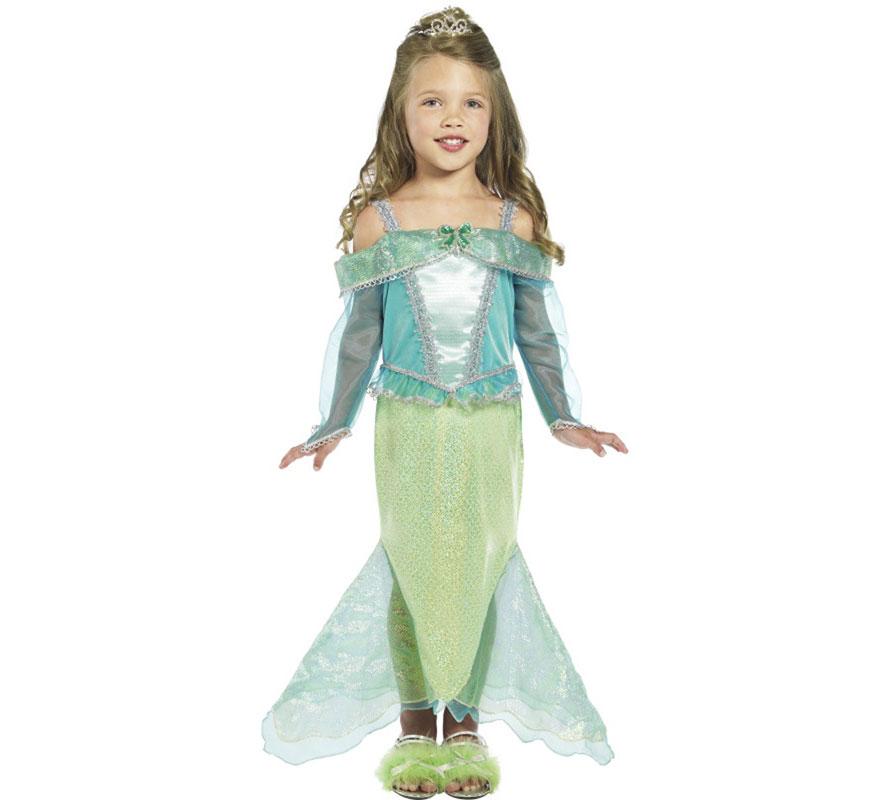 Disfraz de Princesa Sirena para Niña de 4 a 6 años. Disfraz Único y de Alta Calidad con el que podrás imitar a la sirenita Ariel. Sólo incluye Vestido. Completa tu disfraz con artículos de nuestra sección de accesorios como peluca, corona o tiara, guantes, anillos, varita o cetro...