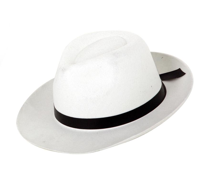Sombrero de Gánster Blanco 28x33CM. Precio por unidad, se venden por separado. Éste sombrero de Gangster es como el que llevaba Michael Jackson.
