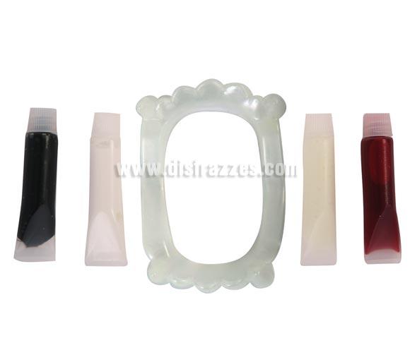 Set maquillaje de Vampiro con dientes y sangre de 14x21 cm. para Halloween.