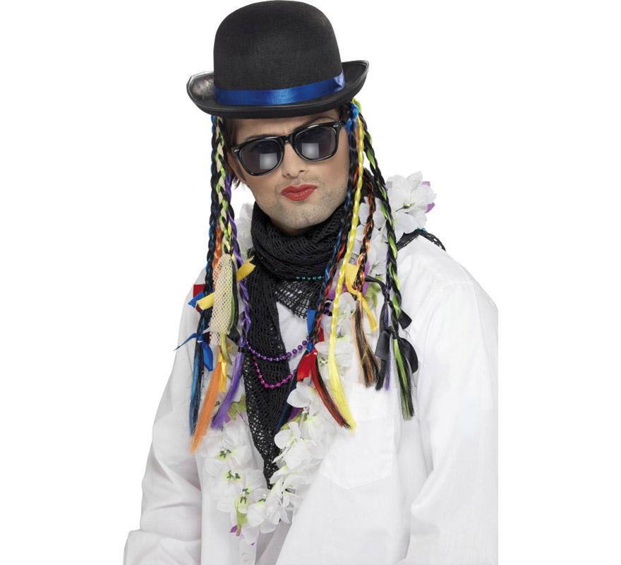 Sombrero Bombín de Boy George con trenzas multicolor.