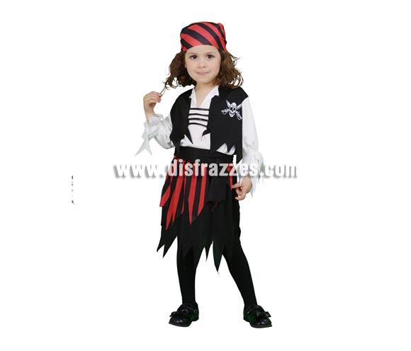 Disfraz de Pirata rojo y negro. Talla de 3 a 4 años. Incluye pañuelo, camisa con chaleco cosido, cinturón y falda. Espada NO incluida, podrás verla en la sección de Complementos.