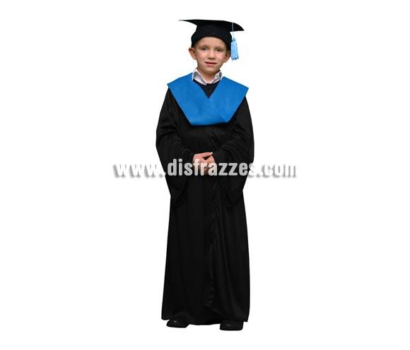 Disfraz Licenciado o Graduado niños de 7 a 9 años. Incluye sombrero, toga y beca.