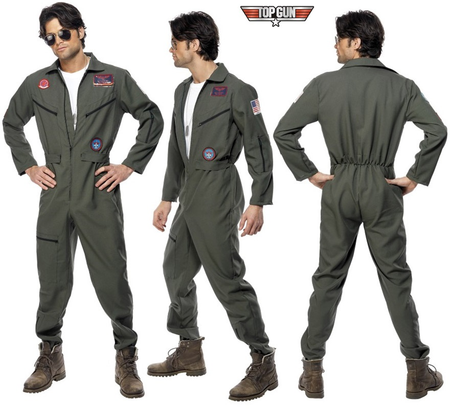 Disfraz de Piloto de Avión de la película de TOP GUN para hombre talla L.  Incluye disfraz y gafas de sol de piloto, botas NO incluidas.