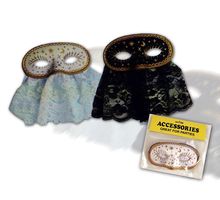 Antifaz lujo con purpurina. En color blanco y oro y támbien negro y oro. Precio por unidad, se venden por separado.