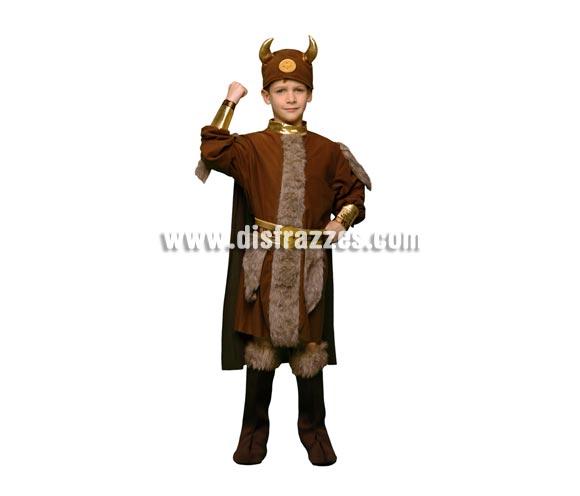 Disfraz de Vikingo infantil barato para Carnaval. Talla de 5 a 6 años. Incluye traje con capa, cubrebotas, cinturón y casco de tela.