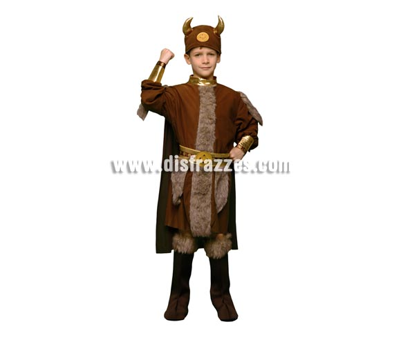 Disfraz de Vikingo infantil barato para Carnaval. Talla de 7 a 9 años. Incluye traje con capa, cubrebotas, cinturón y casco de tela.